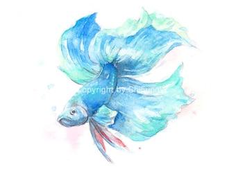 Fish, fish print, fish art, Betta, watercolor giclee, original watercolor painting, giclee print. wall art, Beta, watercolor art print