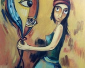 А clairvoyant and a mirror . Original one-of-a-kind oil painting  .Ready to ship.