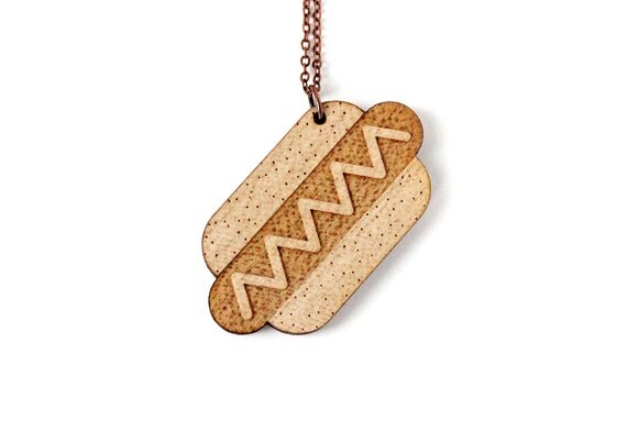 Hot dog pendant - lasercut maple wood - hotdog necklace - hot-dog jewelry - junk food jewellery - kitsch - offbeat - graphic