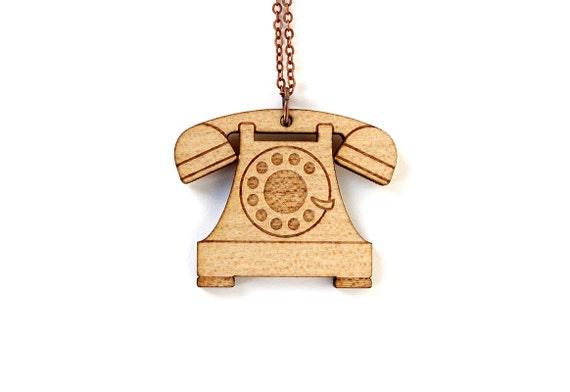 Retro phone necklace - vintage telephone pendant - graphic lasercut jewelry - maple wood - nostalgic geek - technology jewellery