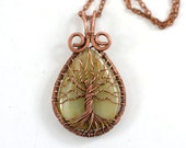 Agate Tree-Of-Life Pendant Copper Necklace Copper Wire Wrapped Agate Pendant Agate Jewelry Rustic Unisex American Hippie Bohemian Style