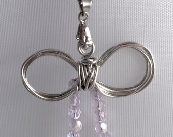 Small Bow Necklace with Clear Beads