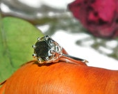 Sterling Silver Ring With Big Stone, 10mm Stone, Over 4 Carats