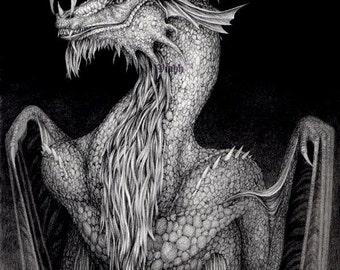 "1 x blank dragon postcard ""Grinning Dragon"""