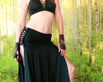 Lace Up Warrior Goddess Skirt in Dark Teal, Witch, Festival Couture, New Age, Organic Fabric