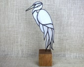 White Egret Stained Glass Bird on Wood Base, Heron, Glass Sculpture, Glass Art