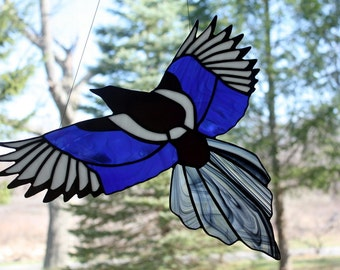 Stained Glass Iridescent Magpie, Bird Suncatcher, Gothic, Stained Glass Window Panel, Glass Art