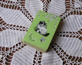 Vintage Kitty Cat & Frog Playing Card Deck . Vintage Playing Cards