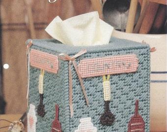 Plastic Canvas Pattern Country Classics - Tissue Box Cover, Country Tissue Box, Home Decor, Kitchen Decor