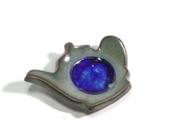 Tea Pot - Mossy Green with Royal Blue Glass - Tea Trivet - Spoon optional - ring dish - spoon rest