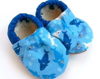 SALE - LAST PAIR shark shoes baby shoes blue sharks toddler shoes soft sole shoes with sharks crib shoes nautical baby shark week clothing