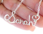 Personalized Name, Name Necklace, Gold Name Necklace, Silver- Gold Name Jewelry, Wire Jewelry, Teen Jewelry, Birthday Gift, Graduation Gift
