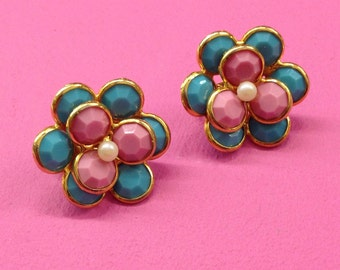Pastel 1960s Vintage Clip on Earrings *Pink* *Blue* *Pretty* *Clip-on* *Large* *Clips* *Spring* *Fashion*
