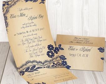 Elegant Lace seal and send wedding invitation card - Cheap wedding invitation {Bellevue design}