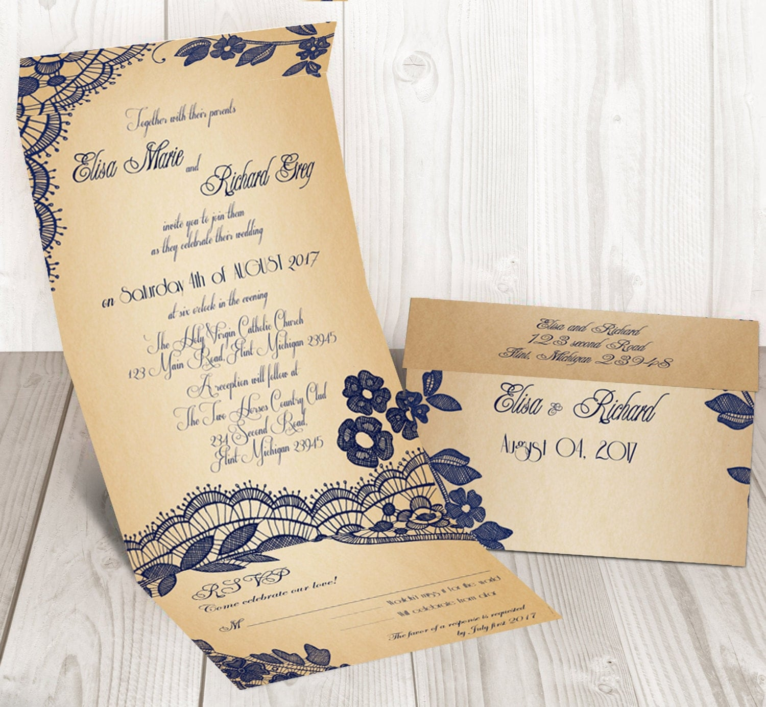 Elegant Lace Seal And Send Wedding Invitation By