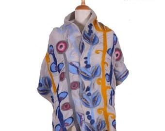 SALE!!!  light grey nuno felted scarf, blue meadow - silk felt wool fairy designer scarf, abstract shawl, felted shawl, wool, silk