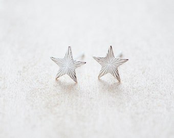 North Star Earrings - Sterling Silver Dainty Post Earrings - Silver Star Studs - Moon Shadow Collection - Celestial Studs - Tiny Studs