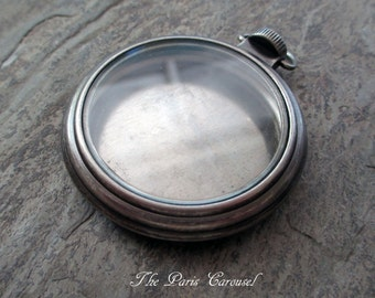 empty pocket watch case pendant steampunk antiqued silver toned metal pewter glass locket assemblage jewelry supply