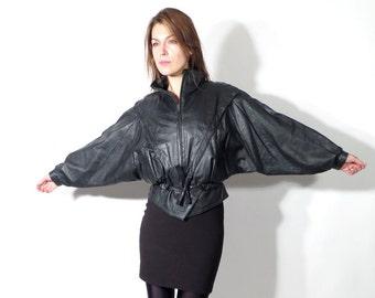 Vintage Black Leather Kimono Jacket Alta Moda Size 44