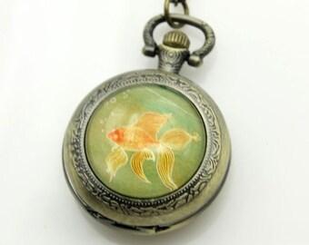 Necklace Pocket watch golden fish