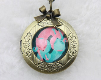 Necklace locket two foxes in love 2020m