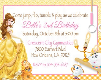 Belle Beauty & the Beast Inspired Gymnastics or Trampoline Birthday Party Printable Invitation