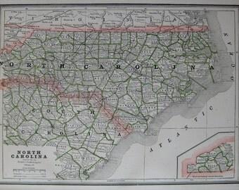 1889 NORTH CAROLINA Map of North Carolina State Map Vintage 1800s Atlas Map Plaindealing 6683
