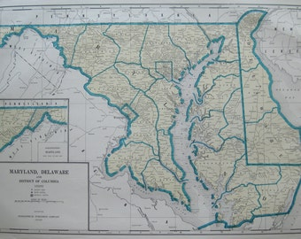 Uncommon MARYLAND Map DELAWARE Map  RARE Size 1936 Vintage Map Gallery Wall Art 6928