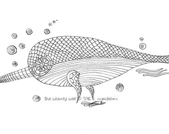 Adult Colouring Page - Narwhal Coloring - Instant Download Colouring - Whimsical Coloring