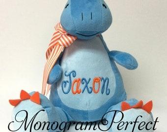 Jaxon - Already Personalized-Blue Dinosaur Plush Stuffed Animal, Soft Toy