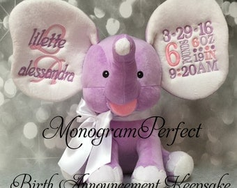 New Exclusive Purple Personalized Birth Announcement Elephant (Purple & Gray)