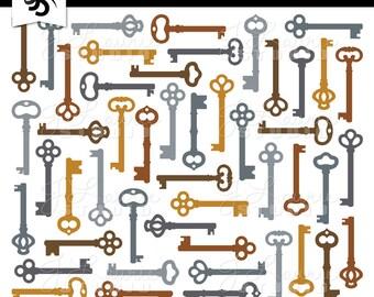 Digital Clipart-Antique Keys-Skeleton Key-Steampunk-Vintage Keys-Steam Punk Graphics-Metal Keys-Scrapbooking-Instant Download Clip Art