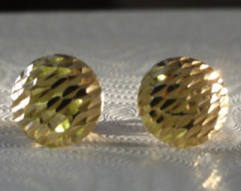 14K yellow gold 10mm etched cut button post earrings ,14K solid gold button stud earrings, 14K solid gold disc  earrings