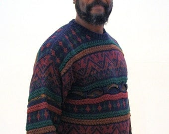 90s Geoffrey Beene Sweater, Coogi Sweater, Chunky Knit Pullover Cotton Rayon Jumper, Size M