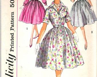 "Vintage 1959 Simplicity 3039 Shirtwaist Dresses Sewing Pattern Size 14 Bust 34"""