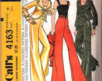 "Vintage 1974 McCall's 4163 Retro Jacket, Top & Pants Sewing Pattern Size 10 Bust 32 1/2"" UNCUT"