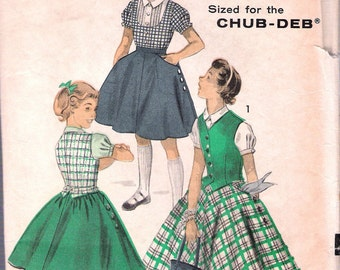 """Vintage 1950's Advance 7742 Chub-Deb Separates Sewing Pattern Size 8 1/2 Breast 30"""""""