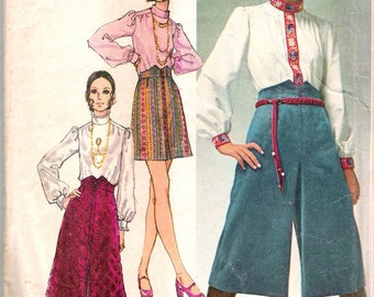"""Vintage 1970 Simplicity 9016 Young Contemporary Fashion Skirt in Two Lengths, Midi- Pant-Skirt & Blouse  Sewing Pattern Size 14 Bust 36"""""""
