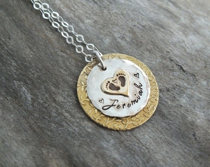 Gold Silver Necklace | Baby Footprint Necklace | Baby Footprint Jewelry | Baby Name Necklace | New Mom Gift |New Mom Jewelry |Flower pattern