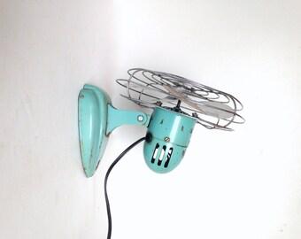 Vintage Electric Fan, Working Aqua Blue Eskimo Fan, Turquoise Colored Eskimo Fan, Small Table Fan, Vintage Desk Fan, Bullet Fan