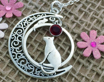 Cat & Mouse Necklace, Birthday Gift, Gift for Her, Gift for Cat Lover, Necklace, Jewellery, Personalised Birthstone Necklace