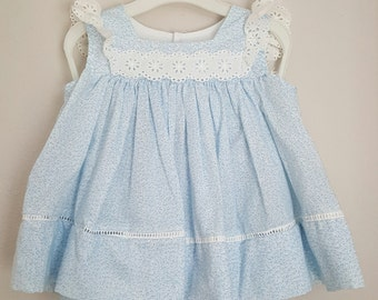 Vintage Girls Blue Floral Pinafore with White Lace flutter Sleeves- Size 24 months - New, never worn
