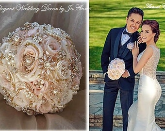 Romantic Blush Brooch Bouquet, Custom Rose Gold Brooch Bouquet, Gold Bridal Brooch Bouquet, Pink and Gold Brooch Bouquet, Heirloom
