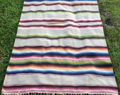 Gorgeous Large Vintage Saltillo Serape Falsa Grey Mexican Blanket, 47x82