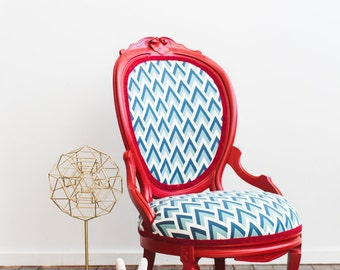Refurbished Vintage Red Painted Accent Chair and Stool Blue Turquoise Geometric Fabric