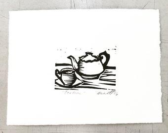 "Teatime! Teapot Original Linocut Print 5 x 7"""