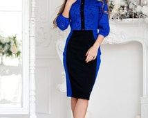 """Knitted dress """"Ocean"""" with guipure rich deep blue color, visually slim silhouette dresses and creates a beautiful line of waist-hip"""