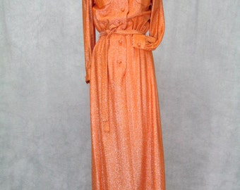 Geoffrey Beene 1970s Designer Dress Orange Metallic Fabric Lined Belted Classic Hardly Worn
