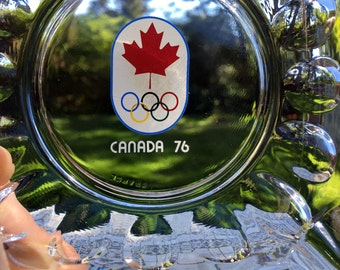 76 Canada Olympics Souvenir Ashtray/Glass Olympics Trinket Dish/ 5 Rings & Maple Leaf /Olympics Collectible/ Made in France/ Mint Cond!