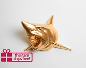Shark Head Wall Sculpture - The Bartholomew Gold Resin Shark Head - Shark Decor by White Faux Taxidermy - Nautical Hanging Wall Decor Art
